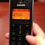 Telefon mit Inschrift Werbung