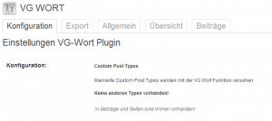 Option Panel VG Wort Plugin