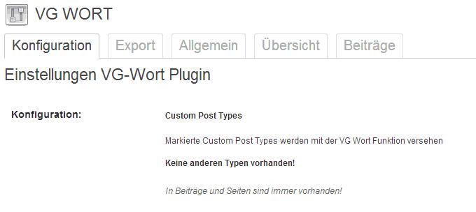 Option Panel VG Wort Plugin
