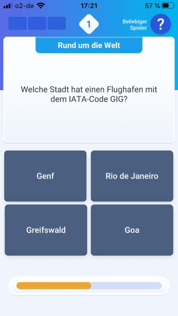 Screenshot der Quizduell App mit Frage nach dem Flughaben mit dem Kürzel GIG und vier Antwortmöglichkeiten, darunter Greifswald.