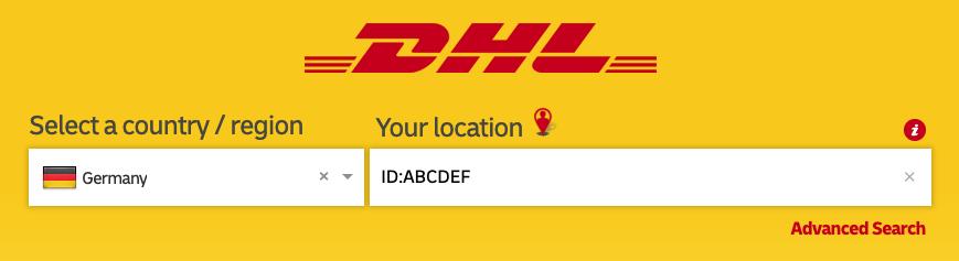 """Sucheingabefeld beim DHL Locator mit Beispiel """"ID:ABCDEF"""""""