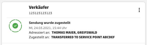 Informationen zum Ablageort im Privatkundenbereich von DHL.